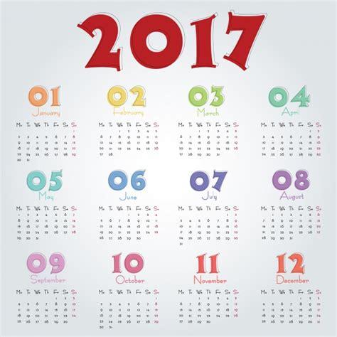 Calendario 2017 Colombia Vector 2017 Calendar Template Vector Free