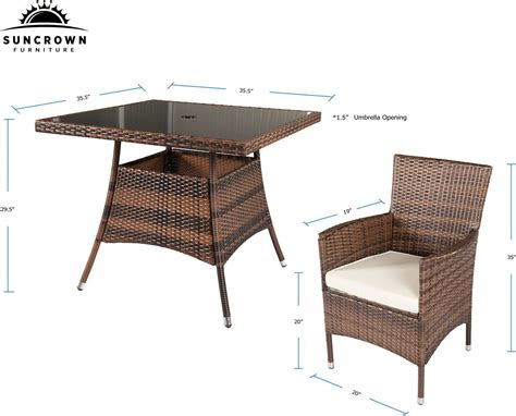 Suncrown 5 Piece Wicker Outdoor Dining Set With 35 Quot Square Wicker Outdoor Dining Table