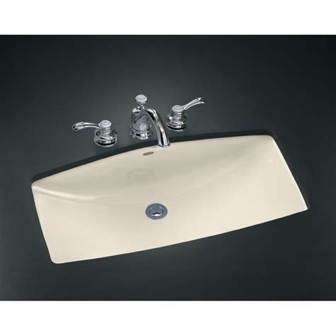 bathroom sinks kohler shop kohler mans lav almond cast iron undermount rectangular bathroom sink with