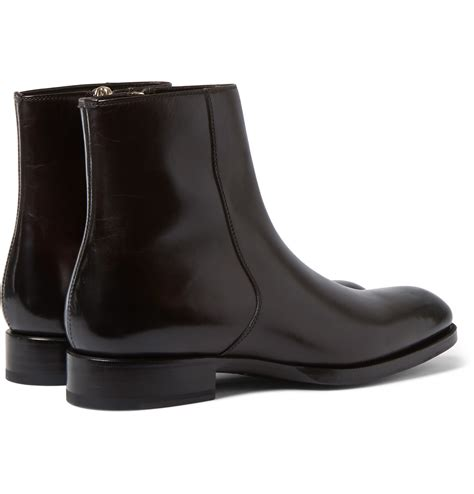 tom ford edgar burnished leather boots in brown for lyst