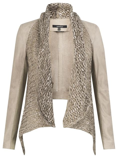 knitted jackets galatti knitted leather waterfall jacket in beige