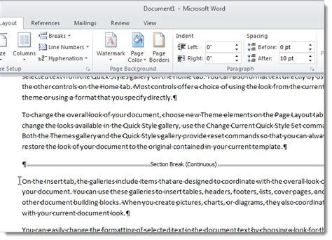 ms word insert section break change the type for a section break in word 2007 and 2010