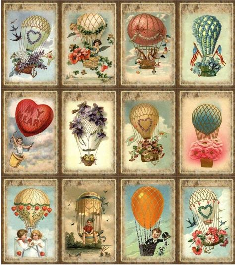 Papercraft Scrapbooking - 12 air balloon vintage look paper craft