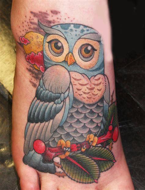 owl tattoo designs for foot corner tattoo women foot owl tattoos picture