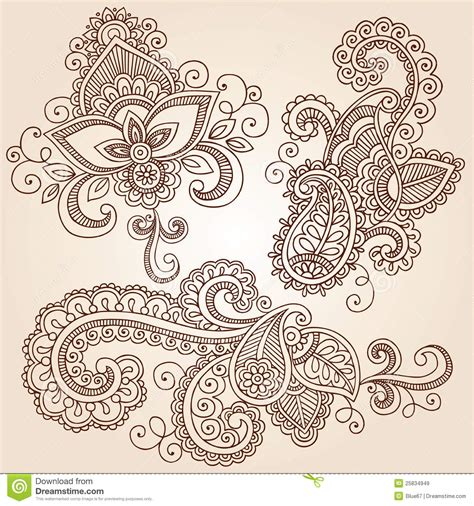 henna tattoo vector henna doodles mehndi vector design elements stock