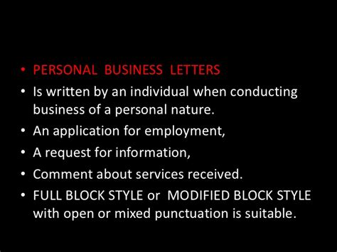 Personal Business Letter Block Style With Open Punctuation Letter Writing