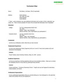 Cv Resume Exle by Curriculum Vitae Template Free Cv