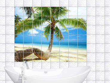 fliesen aufkleber palme fliesenaufkleber fliesenbild palme am strand badezimmer