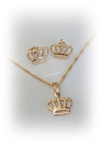 cadenas de oro para ninas cadena dije y zarcillos coronita para ni 241 as en oro