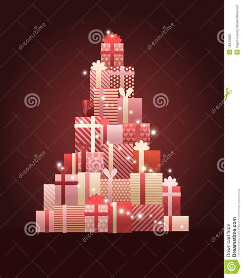 christmas tree made of gift boxes stock vector image