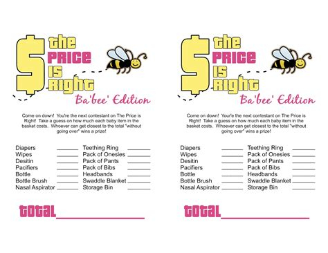 free printable price is right baby shower template free printable baby shower templates www
