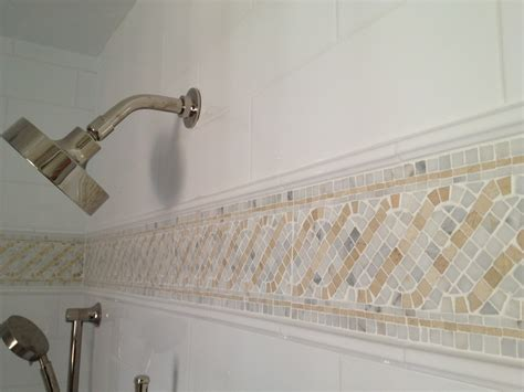 bathroom tiles mosaic border mosaic tile border w statuary crema marfil in ideas