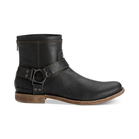 harness boots calvin klein palmer leather harness boots in black