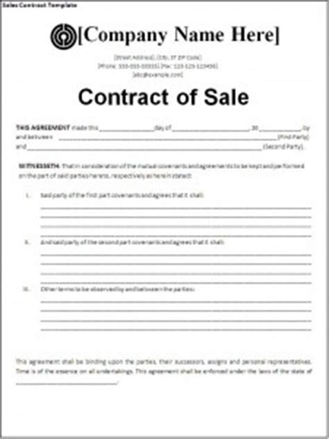 Sales Contract Template Word Excel Templates Contract For Sale Of Goods Template Free