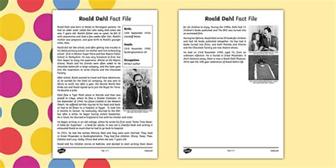 roald dahl biography ks2 ppt roald dahl fact file