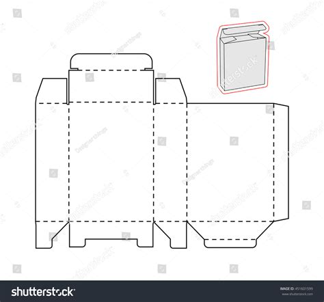 cut out box template template simple box cut out paper stock vector 451601599