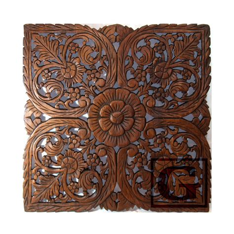 home decorative art lotus flower teak wood hand carved home decor wall panel