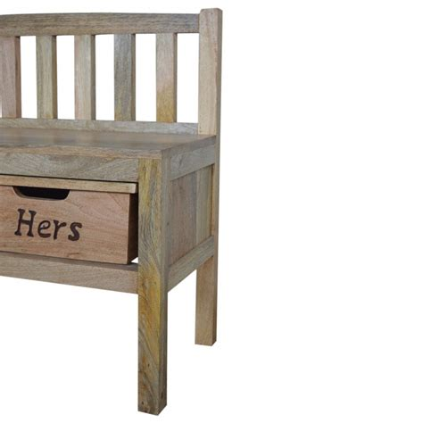 wooden her bench mango hill his her wood storage hallway bench the