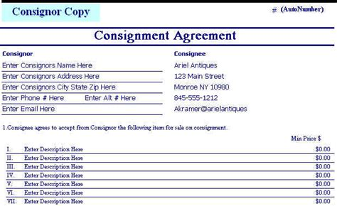 Point Of Sale Contract Template Consignment Agreement Form Templates Excel Template