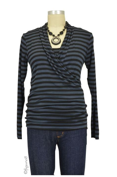 Baju Stripe Blouse Es baju edge maternity nursing top sleeve in charcoal black stripe