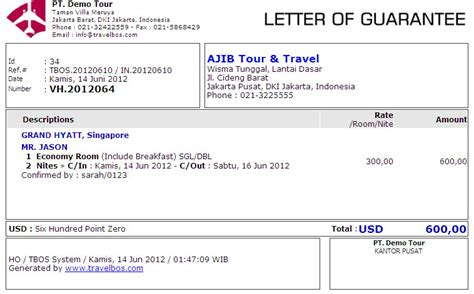 Contoh Surat Guarantee Letter Hotel Travelbos Front Office Aplikasi Travel Program Travel