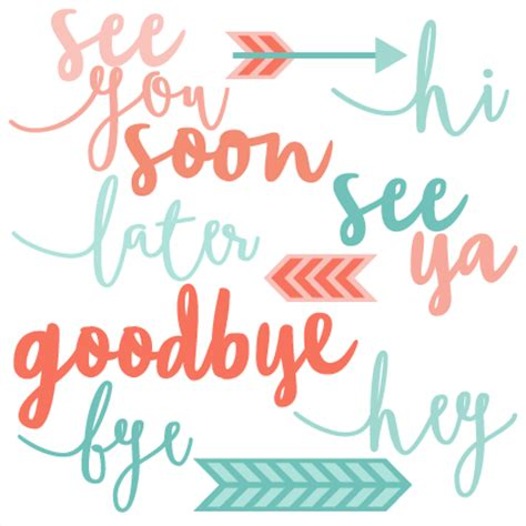 hi goodby word set svg scrapbook cut file clipart