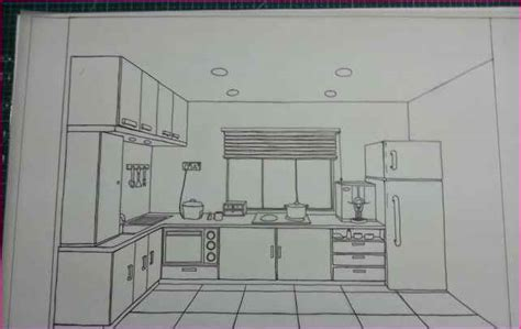 one point perspective drawing kitchen simple image gallery