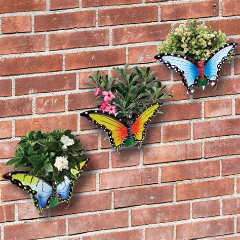 Butterfly Wall Planters Set Of 3 Butterfly Garden Wall