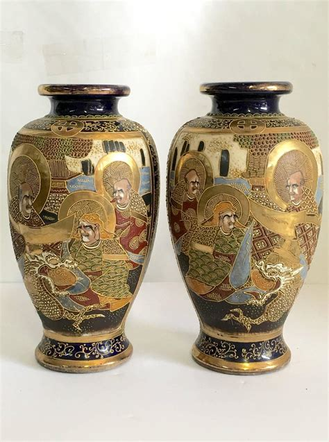 Satsuma Vase by Pair Of Japanese Cobalr Satsuma Moriage Vase Signed At