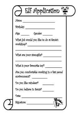 printable elf application welcome to the north pole