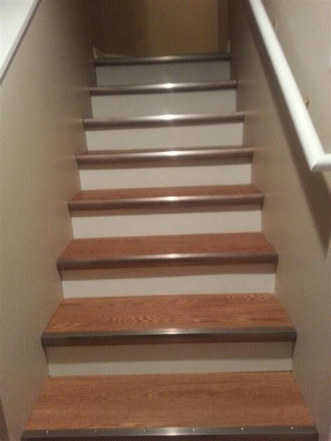 Allure Vinyl Plank Flooring on the basement stairs   Home
