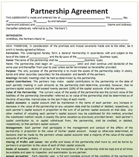 partner agreement template partnership agreement template microsoft word templates