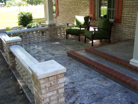 Front Patio Design by Concrete Front Porch Makeover Baluster Floor Designs