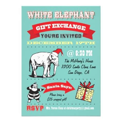 retro white elephant christmas party invitations