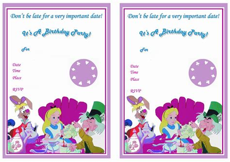 alice in wonderland birthday invitations printable all