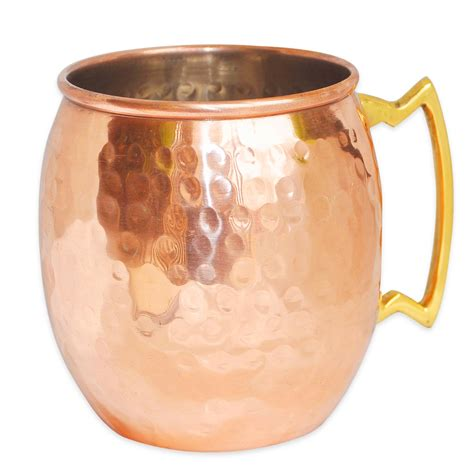 AsiaCraft Solid Copper Moscow Mule Mug Hammered , Inside ...