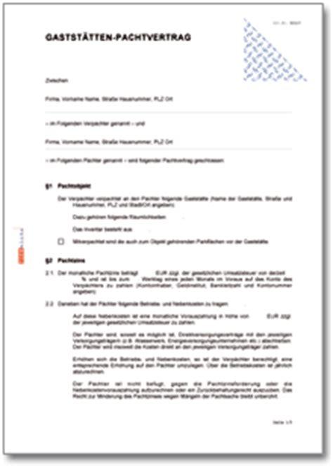 Muster Pachtvertrag Gastst 228 Tten Pachtvertrag Muster Vorlage Zum
