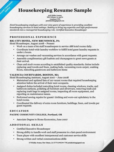 Housekeeping Resume Exles housekeeping resume sle resume companion
