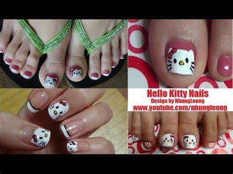 nail art tutorial hello kitty french tips easy cute hello kitty nail art tutorial youtube