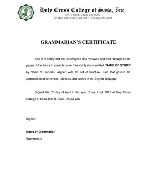 certification letter for grammarian grammarian s certificate