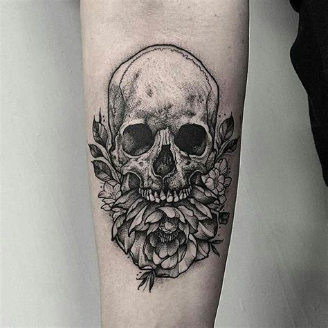 flash tattoo in london skull peony tattoo by thomasbatestattoo in london u k