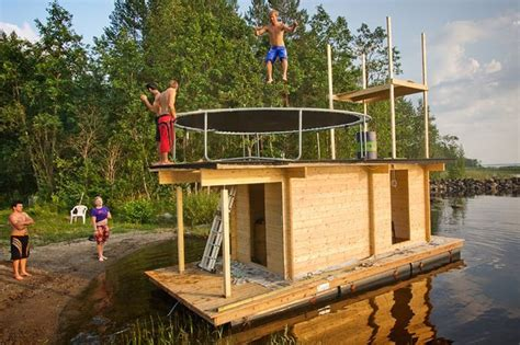 lookout tower boat dock floating sauna from recycled wood finland
