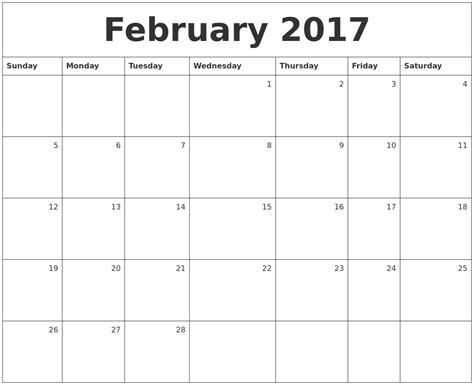 Monthly Calendar 2017 February 2017 Monthly Calendar