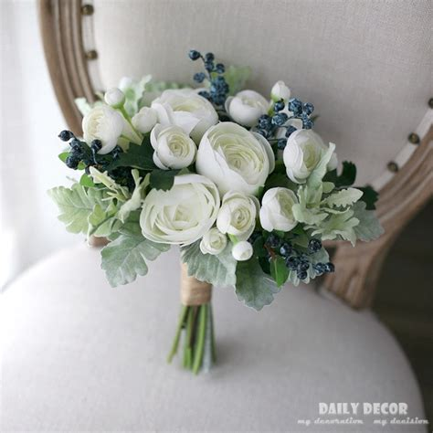 Bouquet Bunga Plastik Artificial Palsu white tea artificial flowers bridal bouquet flowers berry wedding bouquet