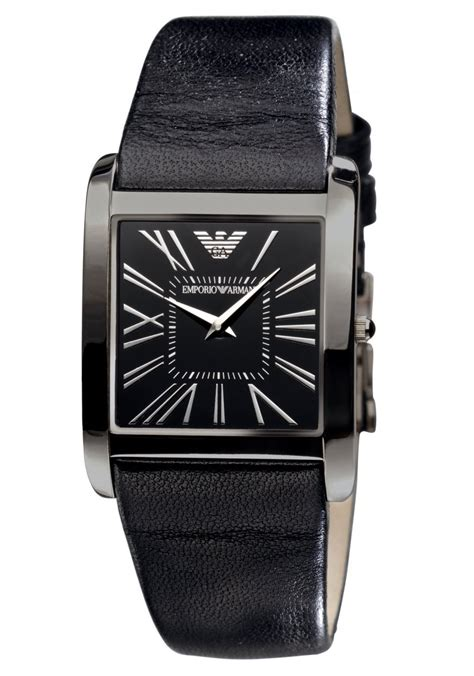 Emporio Armani Ar2007 emporio armani ar1637 s black slim leather