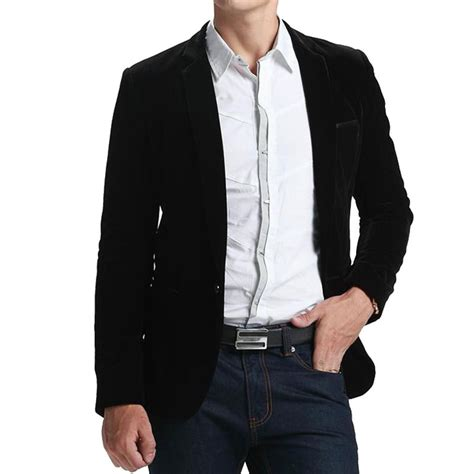 Blazer Black Fashion Single Buttom high quality black velvet blazer 2016 new arrival mens