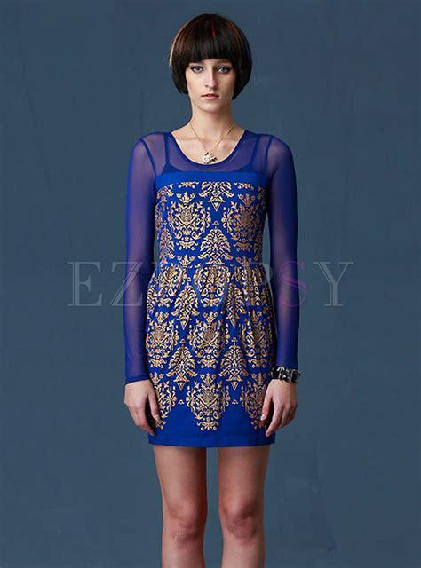 Sleeve Printed Sheath Dress womens mesh sleeve printed sheath dress ezpopsy