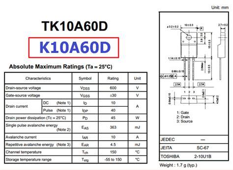 transistor mosfet k10a60d transistor mosfet k10a60d 28 images transistor k10a60d novo pronta entrega eletr 244 nicos