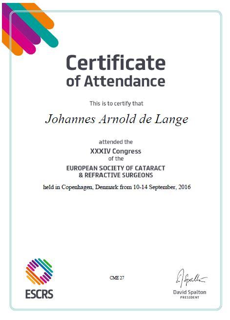 certificate of attendance sle template escrs 2016 ocumed eye laser institute