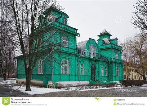 art for house wooden house in art nouveau style in bobruisk stock photo